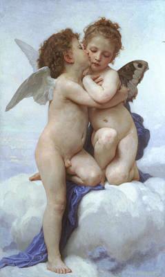 Amor And Psyche - The First Kiss Art Print by Adolphe-William Bouguereau