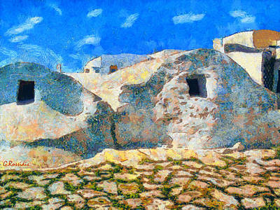 Colorful Painting - Amorgos Village by George Rossidis