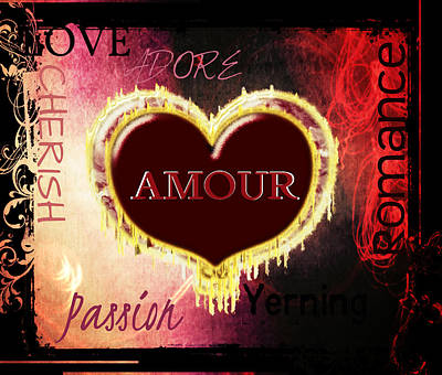 Digital Art - Amour by Sherry Flaker