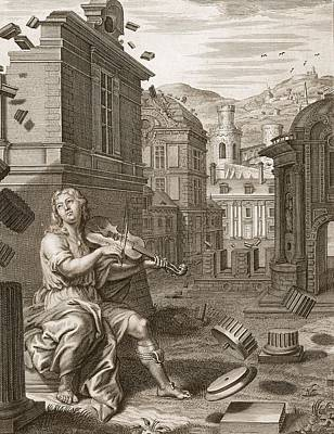 Violin Drawing - Amphion Builds The Walls Of Thebes by Bernard Picart