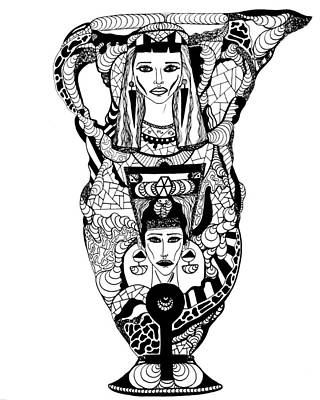 Drawing - Amphora Of Cleopatra And Nefertiti by Kenal Louis