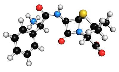 Chemical Photograph - Ampicillin Antibiotic Drug Molecule by Molekuul