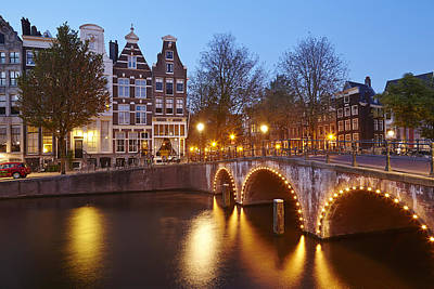 Amsterdam - Old Houses At The Keizersgracht In The Evening Art Print by Olaf Schulz