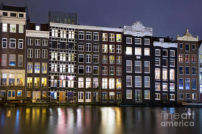 Amsterdam At Night Art Print by Jane Rix