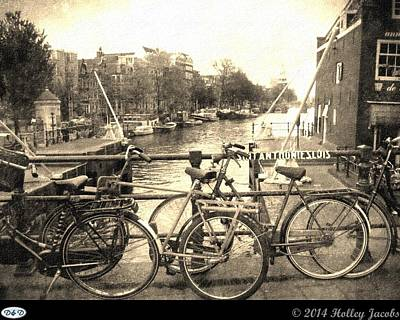 Digital Art - Amsterdam Bicycle Alley by Holley Jacobs