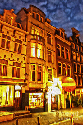 Amsterdam By Night - 01 Art Print by Gregory Dyer