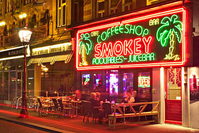 Photograph - Amsterdam Cafe At Night by Barry O Carroll