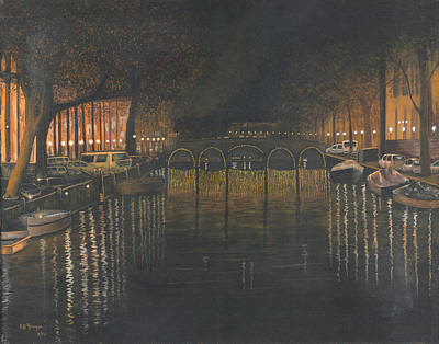 Painting - Amsterdam Canal At Midnight by Stuart B Yaeger