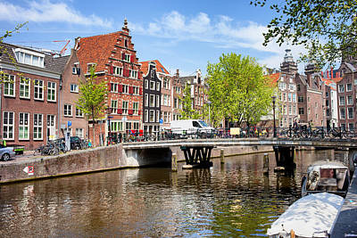 Old Home Place Photograph - Amsterdam Canal Bridge And Houses by Artur Bogacki