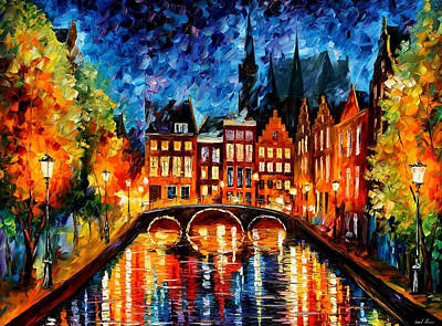 Amsterdam-canal - Palette Knife Oil Painting On Canvas By Leonid Afremov Original by Leonid Afremov