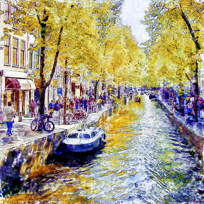 Urban Landscape Mixed Media - Amsterdam Canal Watercolor by Marian Voicu