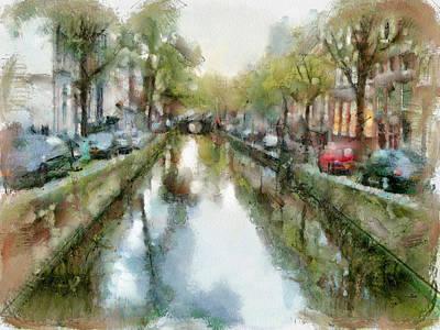 Amsterdam Digital Art - Amsterdam Canals View by Yury Malkov