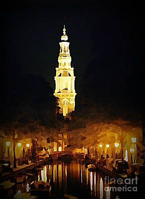 Halifax Art Work Digital Art - Amsterdam Church And Canal by John Malone