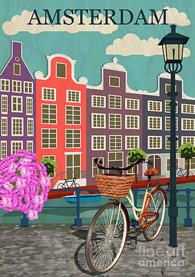 Amsterdam Wall Art - Digital Art - Amsterdam City Background by Ivgroznii