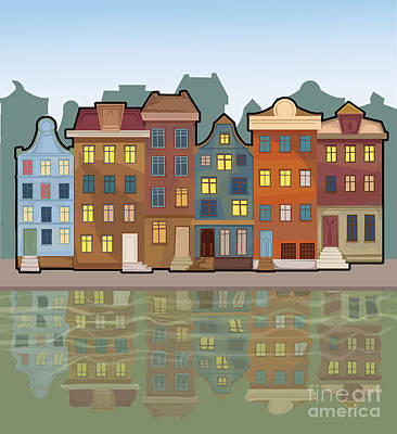 Colorful Boats Wall Art - Digital Art - Amsterdam City With Reflections In A by Marijapiliponyte