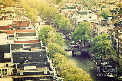 Photograph - Amsterdam Holland Netherlands In Vintage Style by Michal Bednarek