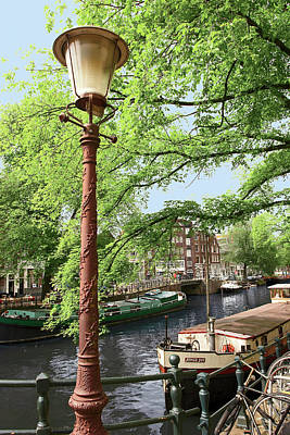 Amsterdam, Holland, Old Gas Lamp Post Art Print by Miva Stock