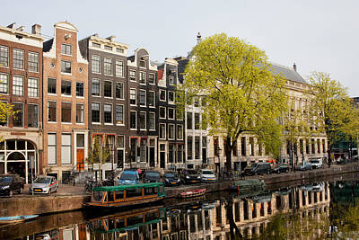 Amsterdam Houses Along The Singel Canal Art Print