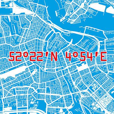 Nederland Digital Art - Amsterdam Map Blue by Big City Artwork