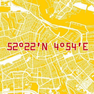 Nederland Digital Art - Amsterdam Map Yellow by Big City Artwork