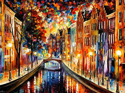 Amsterdam-night Canal - Palette Knife Oil Painting On Canvas By Leonid Afremov Original by Leonid Afremov