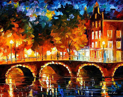 Amsterdam-old Bridge - Palette Knife Oil Painting On Canvas By Leonid Afremov Original by Leonid Afremov