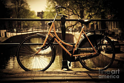 Photograph - Amsterdam Romantic Canal Bridge Bike by Michal Bednarek