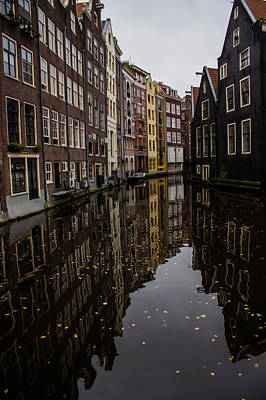 Photograph - Amsterdam - Serene Fall Reflections by Georgia Mizuleva