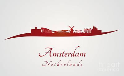 Amsterdam Digital Art - Amsterdam Skyline In Red by Pablo Romero