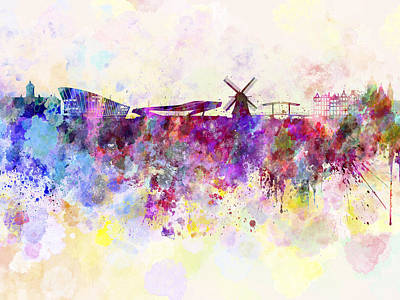 Colorful Art Digital Art - Amsterdam Skyline In Watercolor Background by Pablo Romero