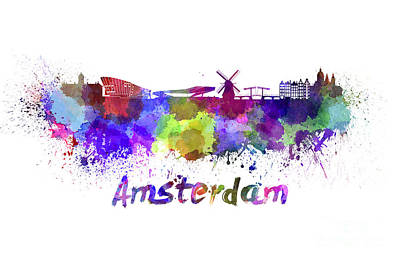 Netherlands Painting - Amsterdam Skyline In Watercolor by Pablo Romero