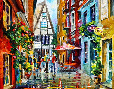 Old Street Painting - Amsterdam Street by Leonid Afremov