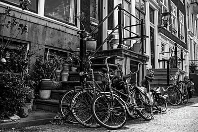 Amsterdam Street Scene In Black And White Art Print