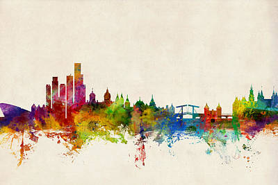 Holland Wall Art - Digital Art - Amsterdam The Netherlands Skyline by Michael Tompsett