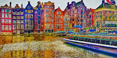 Old Town Digital Art - Amsterdam Today 2 by Yury Malkov