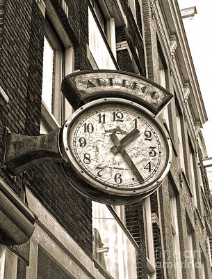Amsterdam Vintage Deco Clock Sign In Sepia Art Print by Gregory Dyer