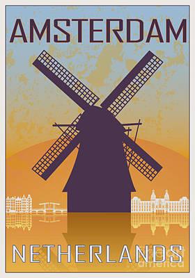 Amsterdam Digital Art - Amsterdam Vintage Poster by Pablo Romero