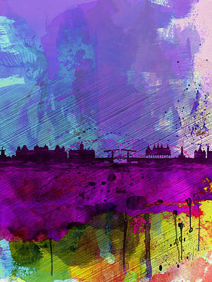 Amsterdam Wall Art - Painting - Amsterdam Watercolor Skyline by Naxart Studio