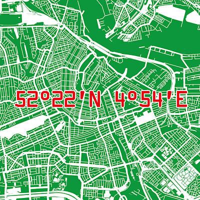Nederland Digital Art - Amsterdam Map Green by Big City Artwork