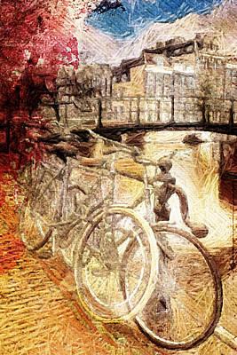 Amsterdam Digital Art - Amsterdam's Bikes by Andrea Barbieri