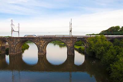 Schuylkill Digital Art - Amtrak Train On Columbia Railroad Bridge Over The Schuylkill River by Bill Cannon