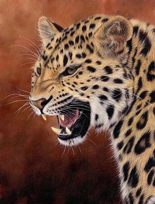 Amur Leopard Painting Original by Rachel Stribbling