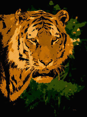 Siberian Digital Art - Amur Tiger Pop Art by Ernie Echols