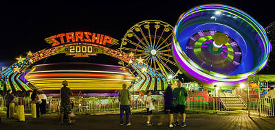 Photograph - Amusement Park Rides At Night by Bob Noble Photography