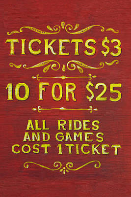 Amusement - Tickets 3 Dollars Art Print by Mike Savad
