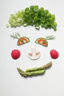 Amusing Face Made From Vegetables, Dill And Mushroom Art Print