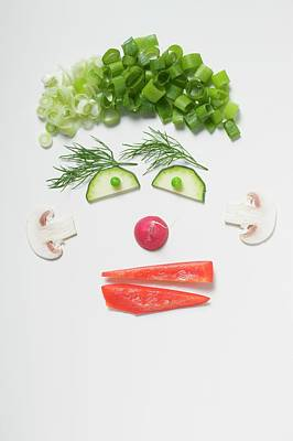 Amusing Face Made From Vegetables, Dill And Mushrooms Art Print