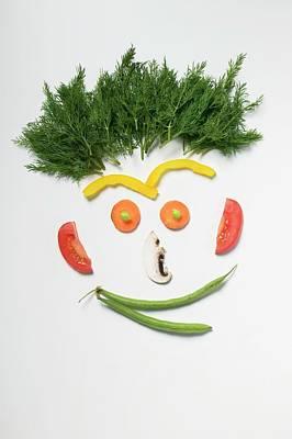Amusing Face Made From Vegetables, Rosemary And Mushroom Art Print