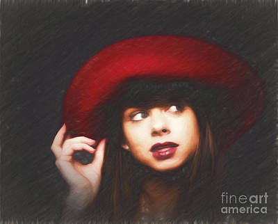 Amy And The Red Hat  ... Art Print by Chuck Caramella