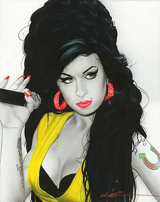 Lips Painting - Amy Winehouse - ' Amy IIi ' by Christian Chapman Art